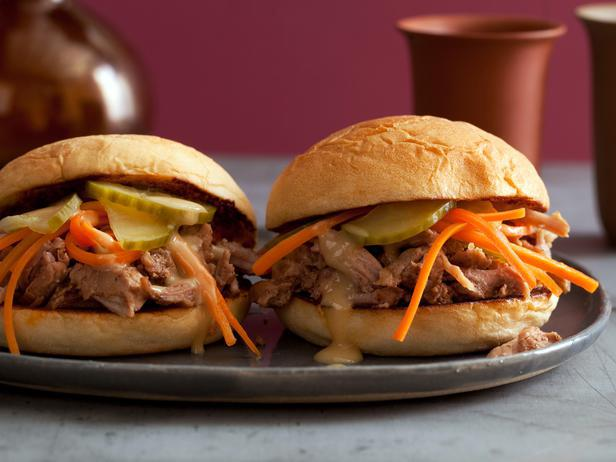 Chinese BBQ Pulled Pork Sliders with Pickled Cukes and Carrots and Sweet-and-Hot Mustard Sauce