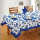 COTTON TABLE SHEET BLUE FLORAL