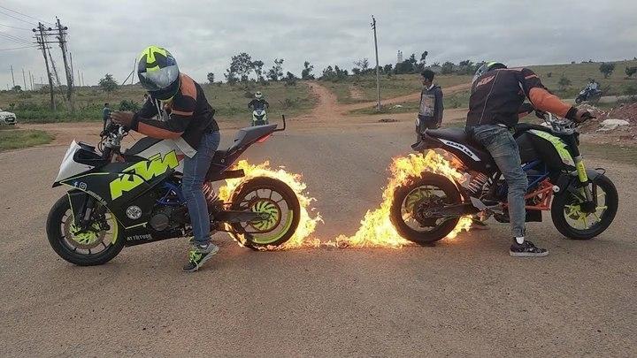 Fire Burnout & Stunning Stunts on KTM DUKE 200, KTM RC 200 & HONDA DIO By Team LSi